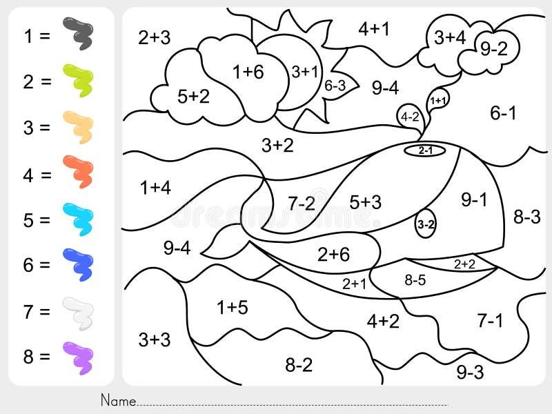 由加法和减法数字绘颜色 皇族释放例证