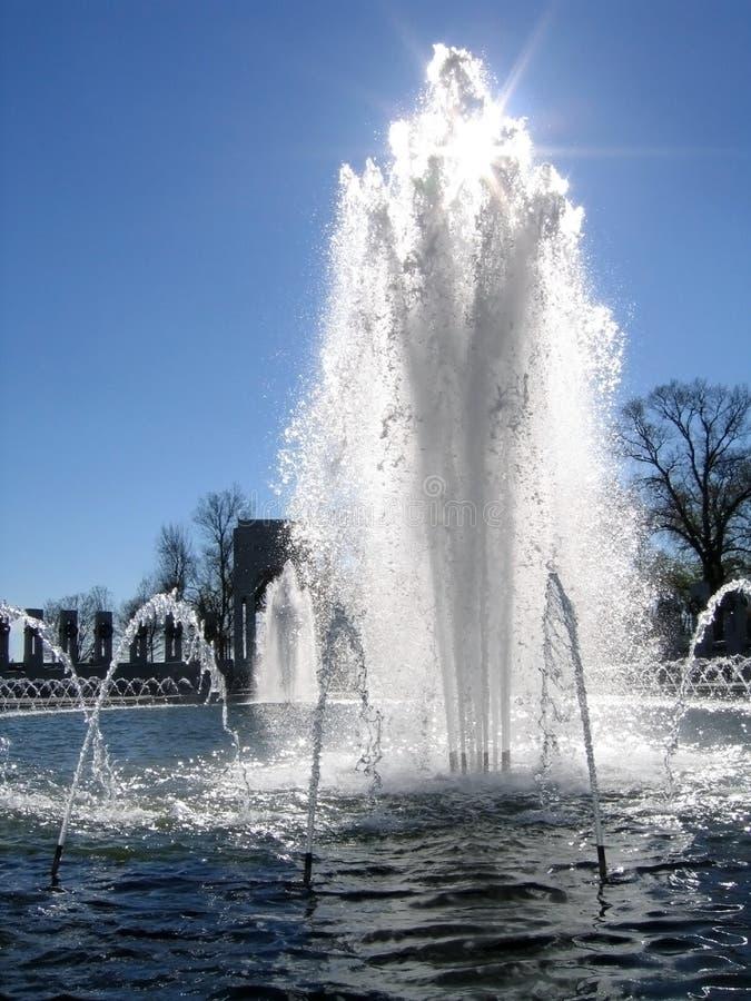 由后面照的dc喷泉纪念华盛顿wwii 免版税库存照片