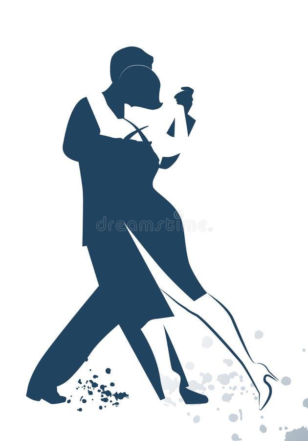 由在白色背景和墨水斑点隔绝的线结合跳舞探戈被画的剪影 库存例证