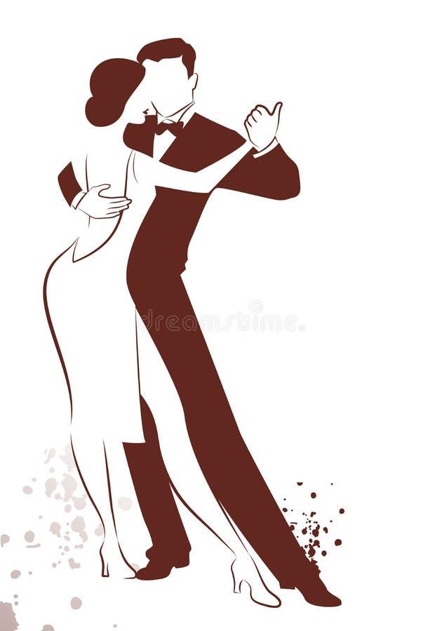 由在白色背景和墨水斑点隔绝的线结合跳舞探戈被画的剪影 皇族释放例证