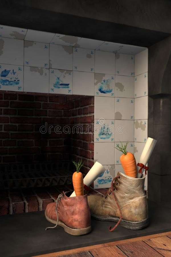 由壁炉的鞋子为荷兰假日Sinterklaas 皇族释放例证