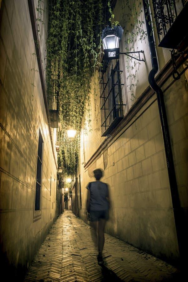由夜狭窄的街道的旅游步行典型在塞维利亚 库存照片