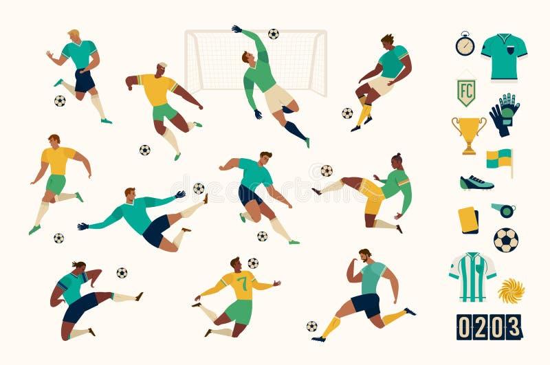 由孤立人物和现代足球和足球偶像组成的足球运动员组 矢量插图 皇族释放例证