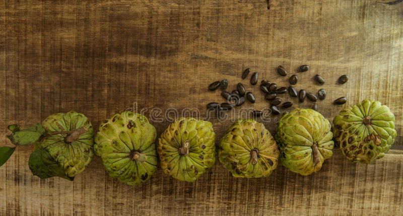 由完整的果子的成熟番荔枝种子在木表上 库存图片