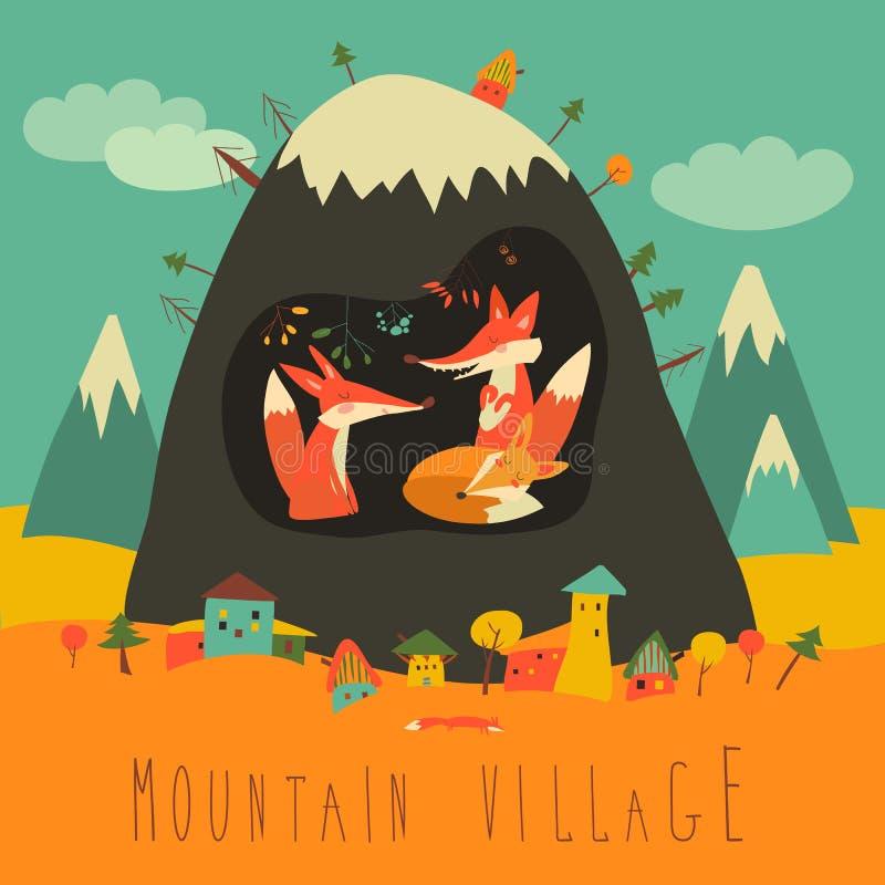 由山的逗人喜爱的村庄与在洞里面的狐狸 库存例证