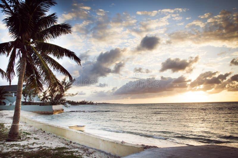 由岸的温暖的日落在巴哈马 库存图片