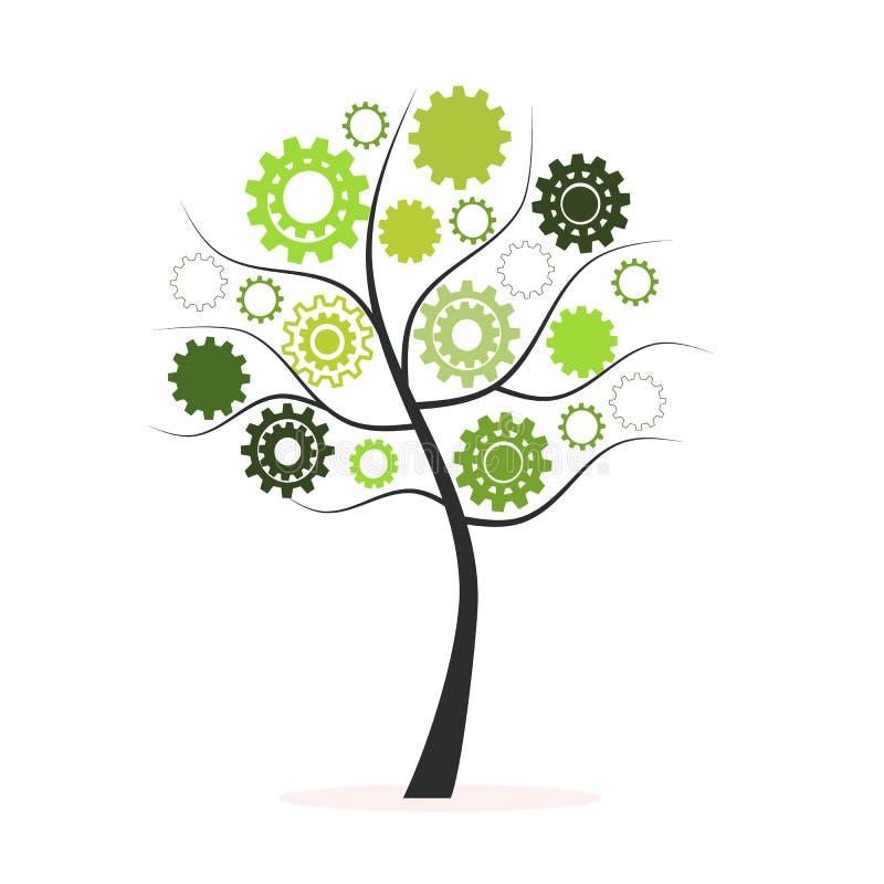 由嵌齿轮和齿轮传染媒介做的绿色树 皇族释放例证