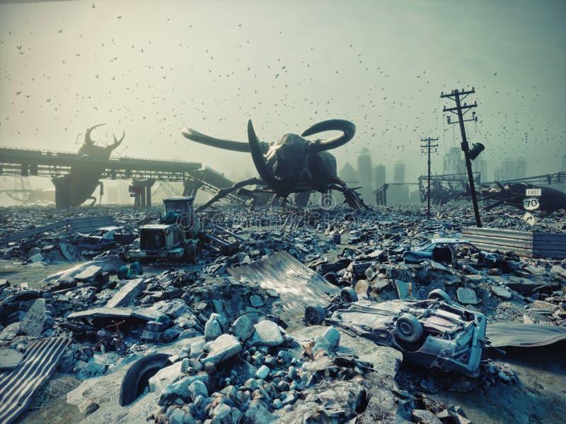 由巨型昆虫的被破坏的城市 库存例证