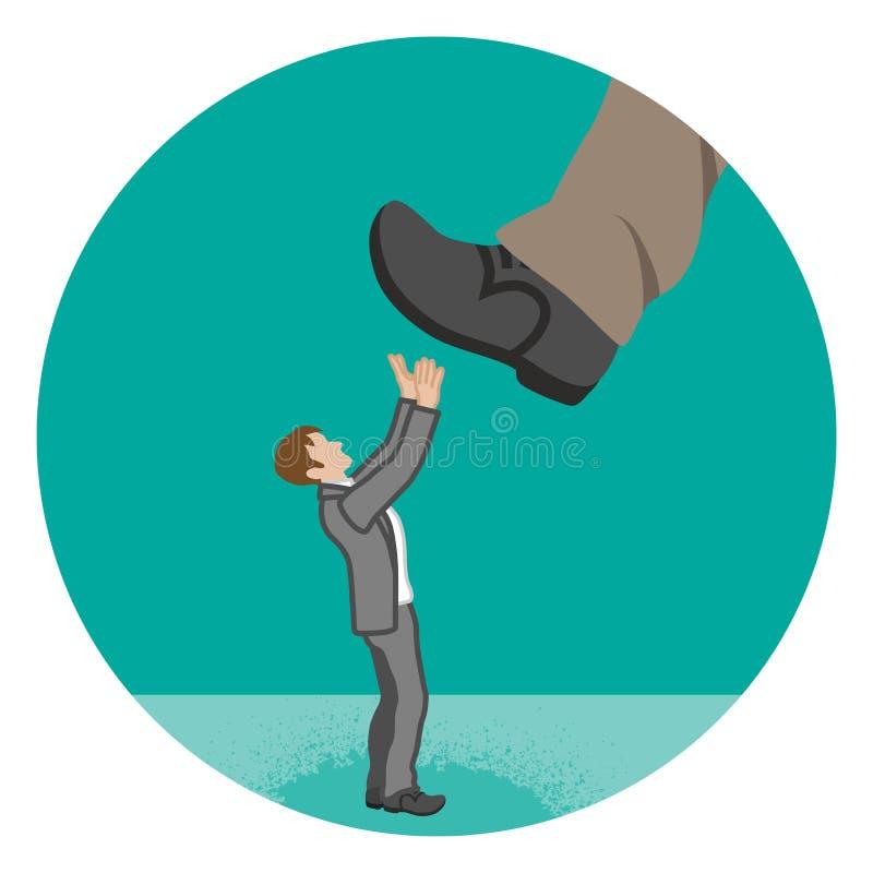 由巨大的脚几乎践踏-的商人供给hara动力 库存例证