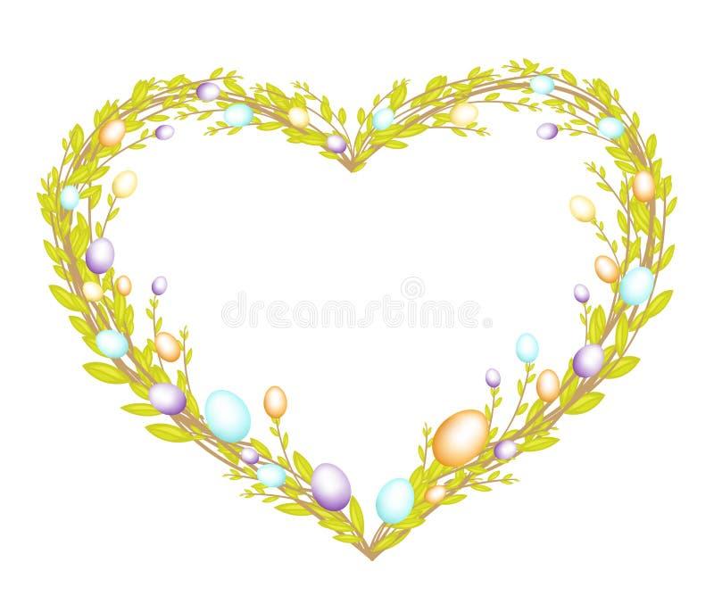 由年轻杨柳分支做的心形的花圈 用复活节装饰绘了鸡蛋 E r 皇族释放例证