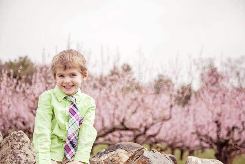 由开花的树的愉快的男孩 免版税库存图片