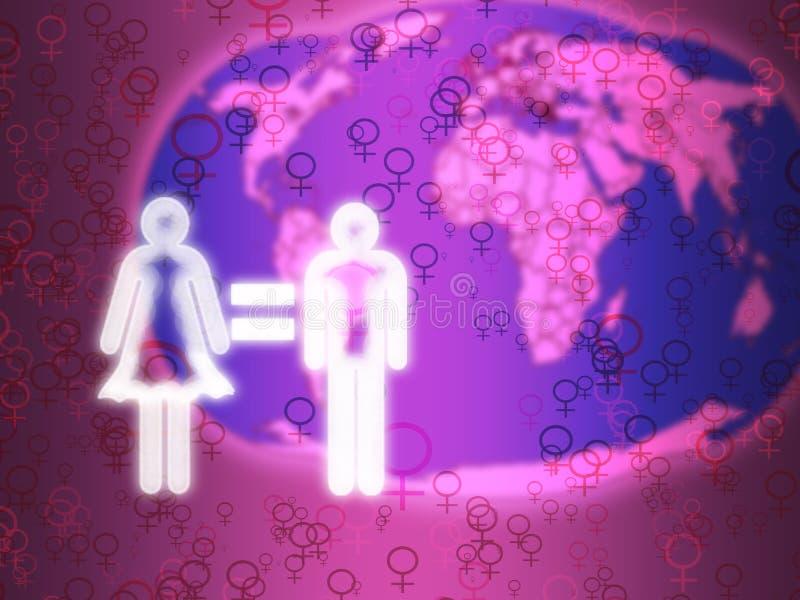 由心脏承诺男女平等 向量例证
