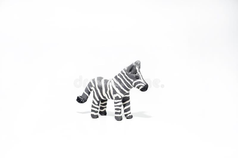 由戏剧黏土做的滑稽的灰色斑马 免版税库存照片