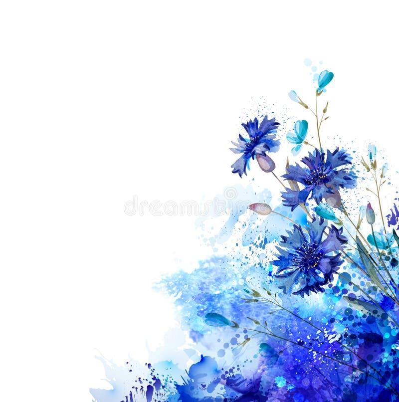 由抽象元素的蓝色矢车菊 库存例证