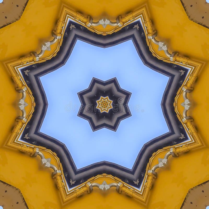 由拖拉机的胳膊做的方形的框架星象征 库存例证