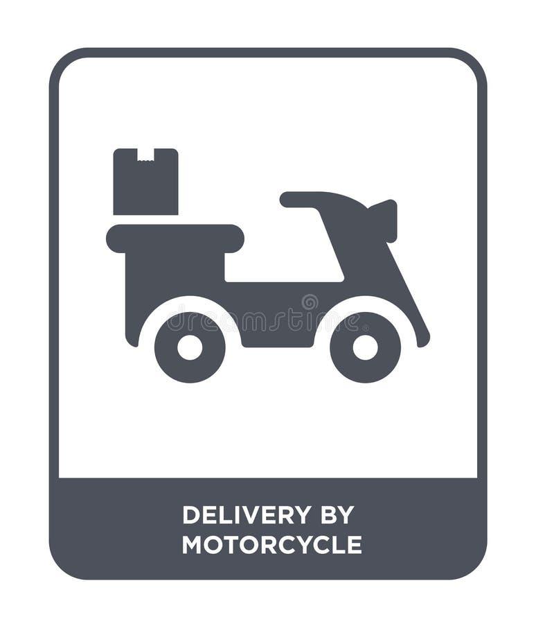 由摩托车象的交付在时髦设计样式 由在白色背景隔绝的摩托车象的交付 交付 皇族释放例证