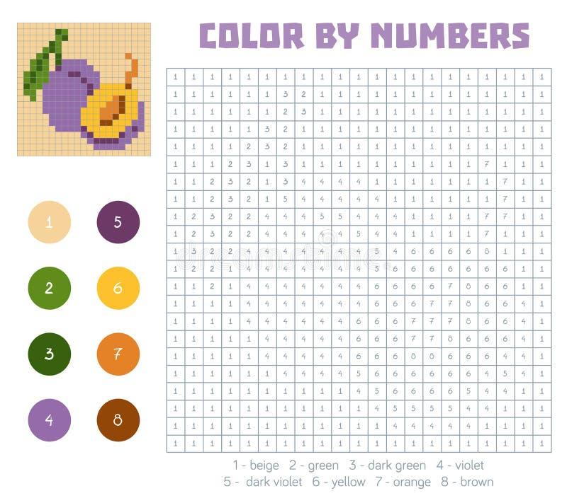 由数字、水果和蔬菜,李子的颜色 向量例证