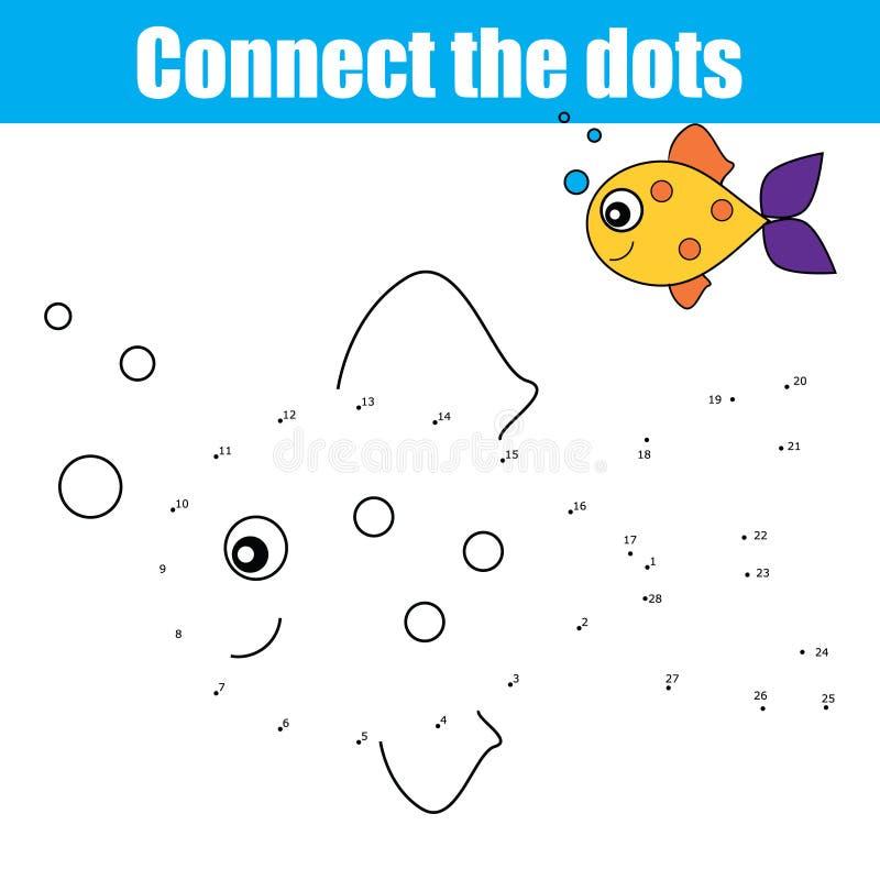 由数字教育儿童比赛,孩子活动连接小点,上色页 向量例证