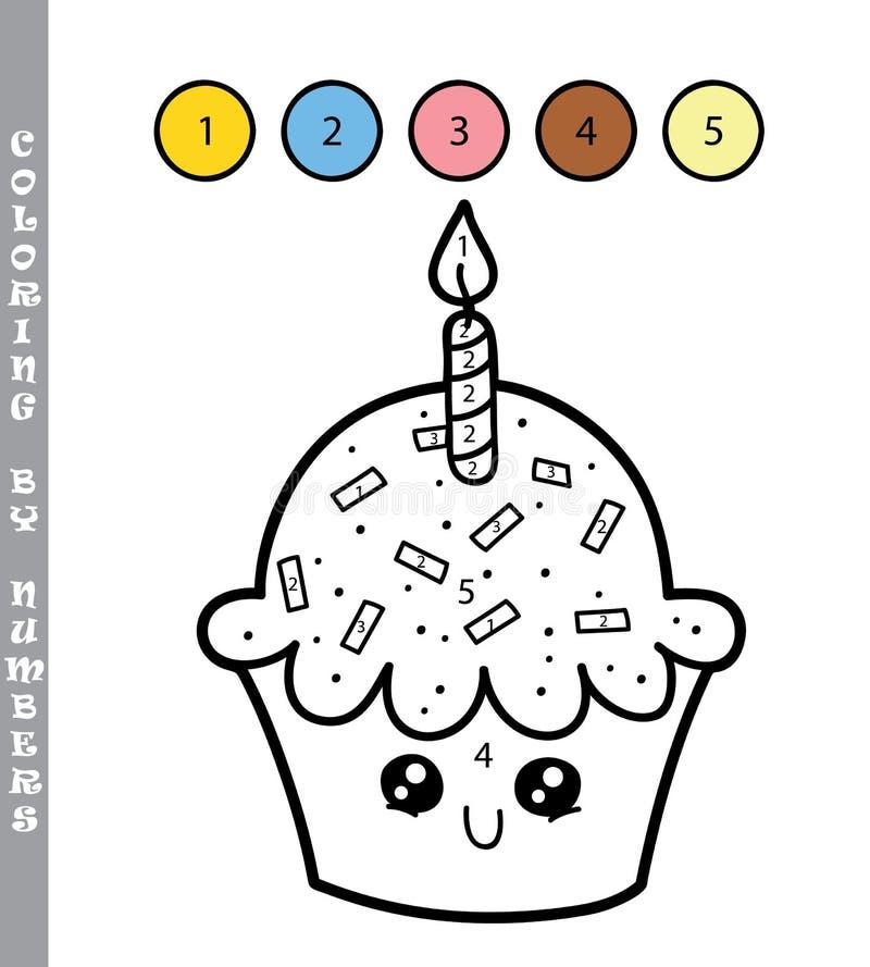 由数字的杯形蛋糕 向量例证