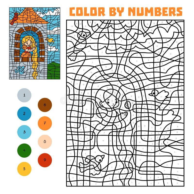 由数字的颜色 童话 在塔的Rapunzel 向量例证