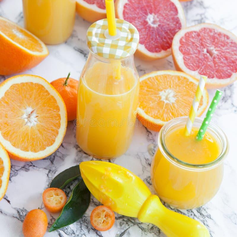 由新鲜的柑橘水果做的汁液 库存图片