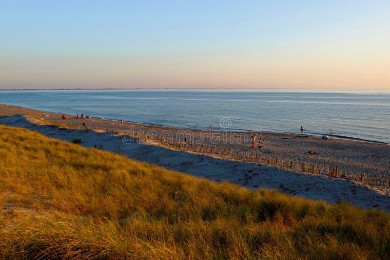 由日落心情的海滩风景 库存图片