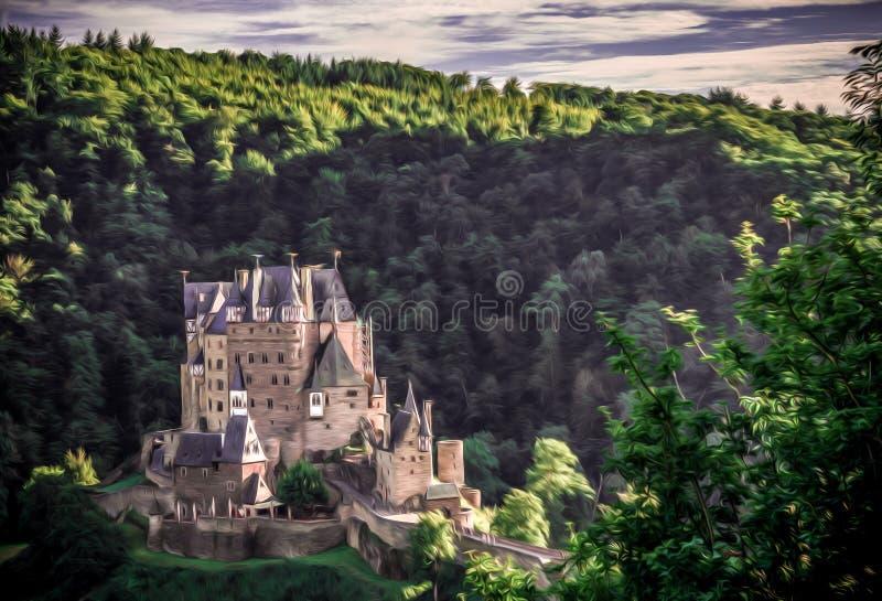 由日落的城堡Eltz 库存图片