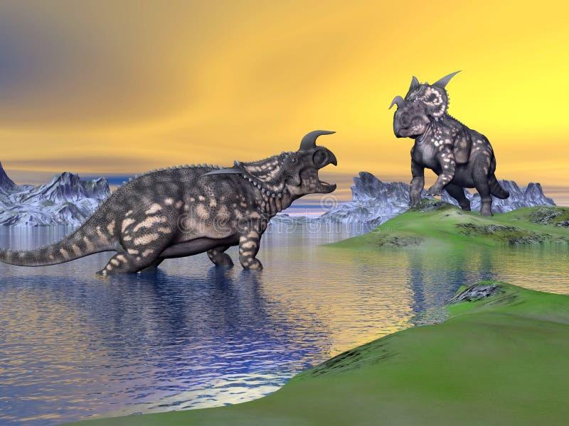 由日落的野牛龙恐龙- 3D回报 库存例证