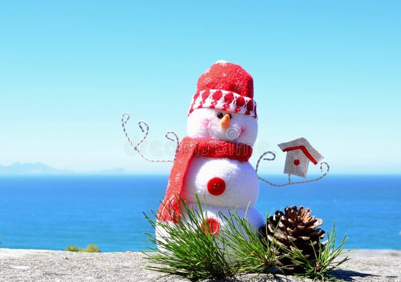 由明亮的蓝色海天线背景的明亮的红色和白色手工制造雪人软的玩具羊毛雪人与杉木锥体&杉木针 免版税图库摄影