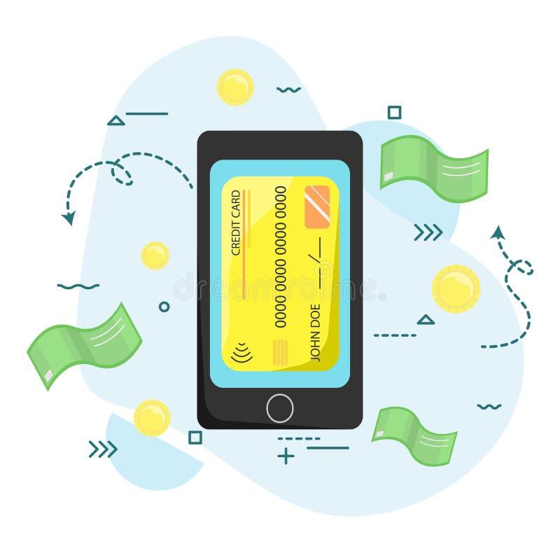 由智能手机的付款 无线,不接触 现代技术 皇族释放例证