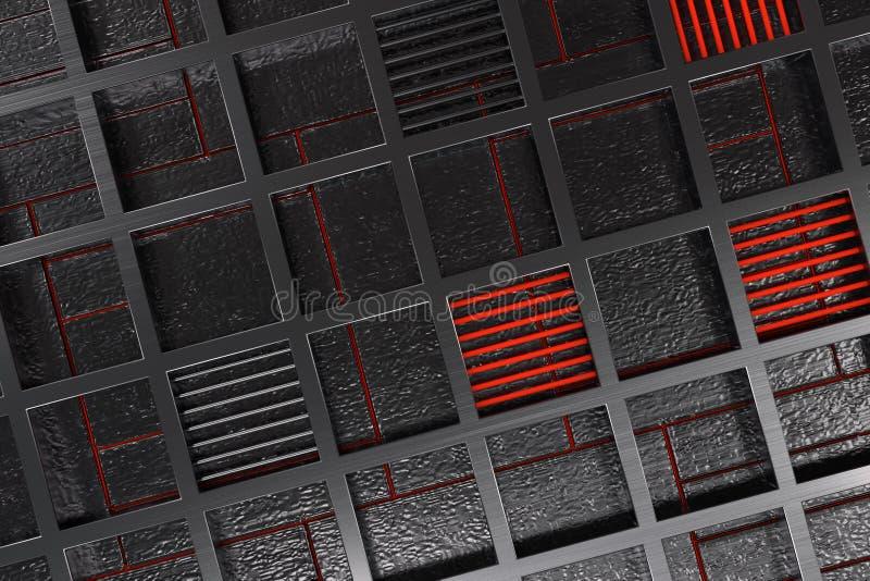 由有发光的线和元素的掠过的金属花格做的未来派技术或工业背景 向量例证