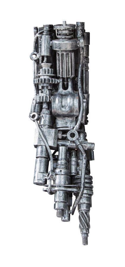 由有机械的汽车零件的金属机器人做的一部分适应 库存图片