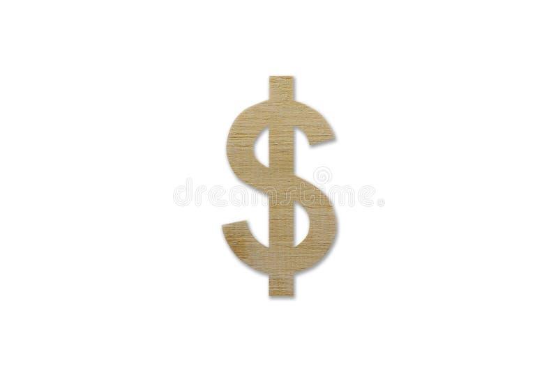 由木头做的美元标志被隔绝在白色背景 库存图片