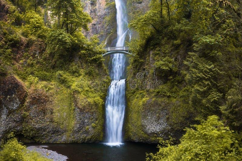 由本雄桥梁的马特诺玛瀑布在春季的哥伦比亚河峡谷俄勒冈 波特兰俄勒冈美国 免版税图库摄影