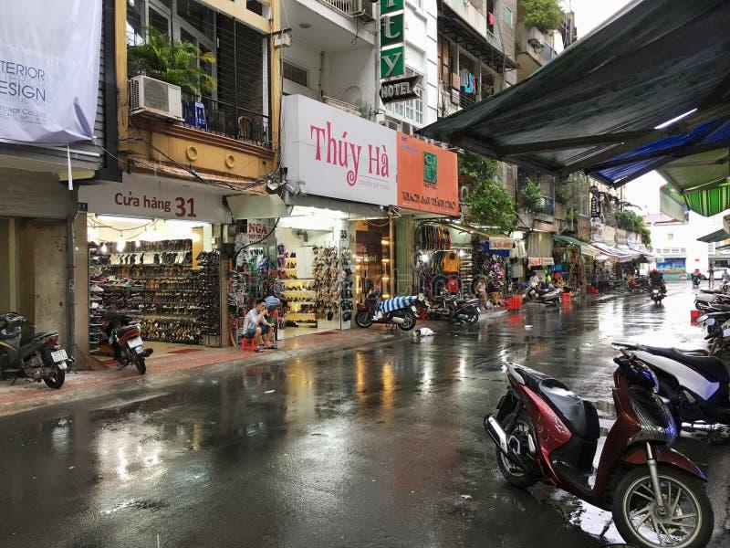 由本Thanh市场的购物街道在胡志明市,越南 免版税图库摄影