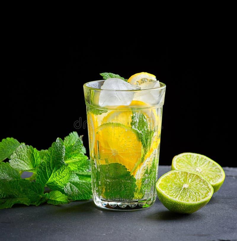 由柠檬、绿色薄菏石灰和叶子片断做的冷的饮料在一块玻璃的与水下落 免版税库存图片