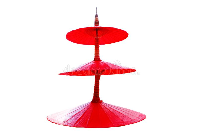 由桑树纸做的红色umbella,手工制造 库存图片