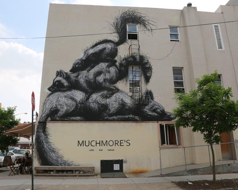 由比利时艺术家罗阿的墙壁上的艺术在东部威廉斯堡在布鲁克林 免版税库存照片