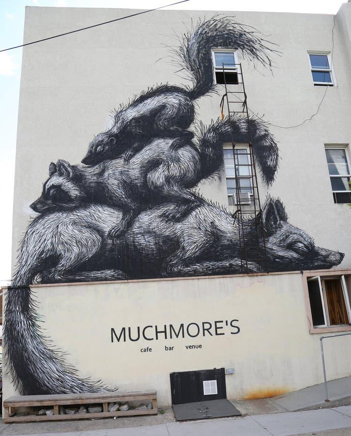 由比利时艺术家罗阿的墙壁上的艺术在东部威廉斯堡在布鲁克林 免版税库存图片