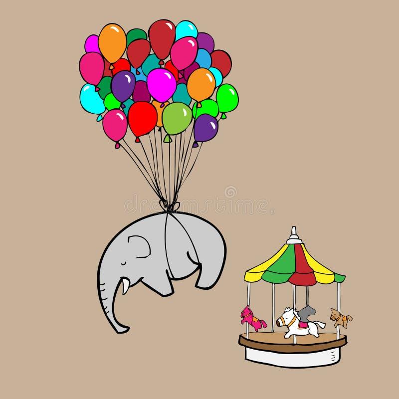 由气球动画片的大象飞行 库存例证