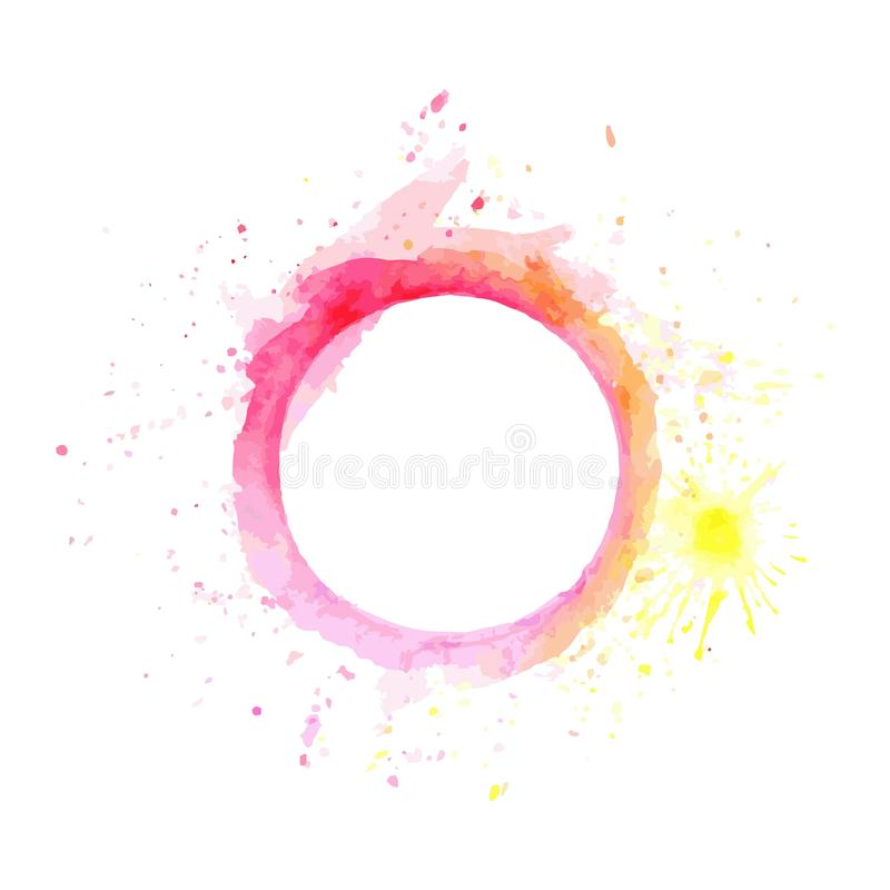 由水彩的抽象桃红色和黄色口气圈子框架油漆和安排一些空间为写字词 向量例证