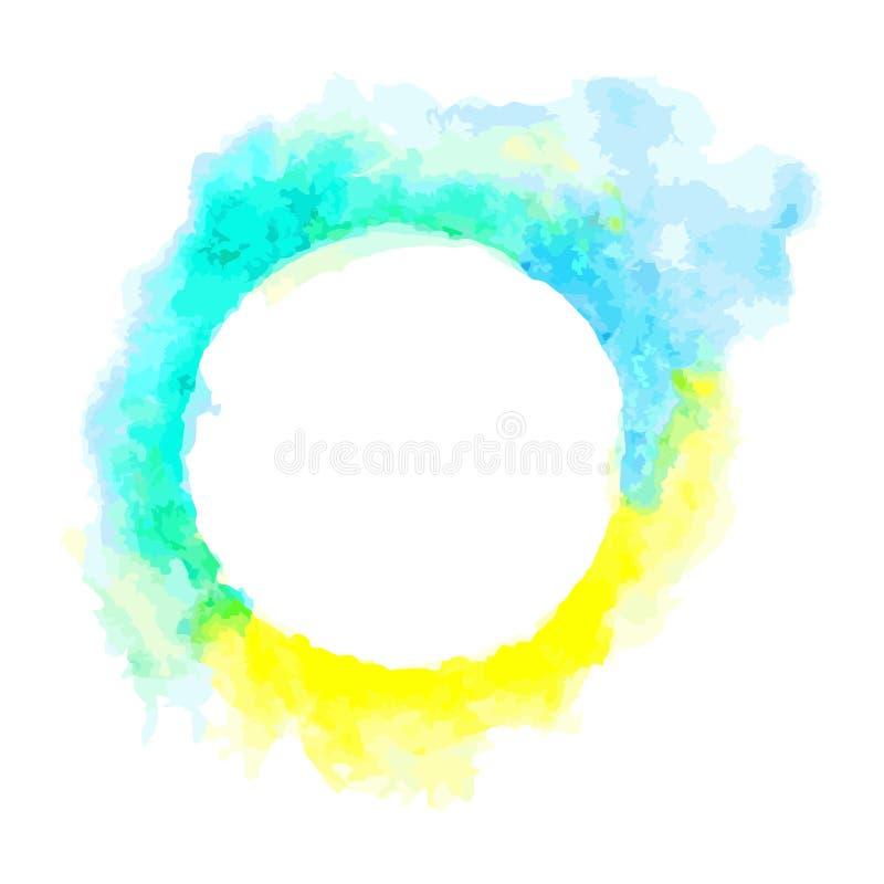 由水彩的抽象蓝色和黄色口气圈子框架油漆和安排一些空间为写字词 库存例证
