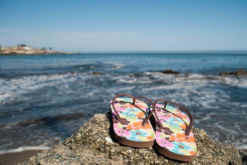 由水的塑胶人字平底拖鞋 库存图片