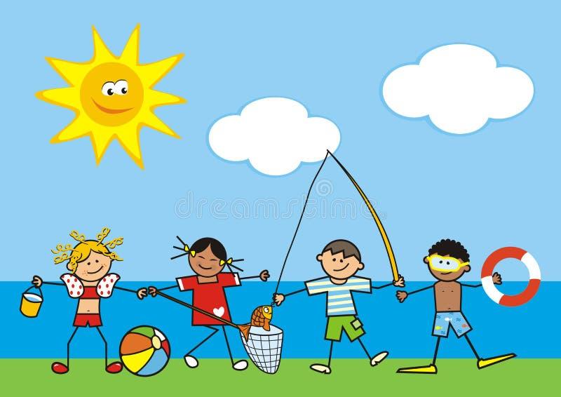 由水的娱乐活动,四个愉快的孩子,eps 向量例证