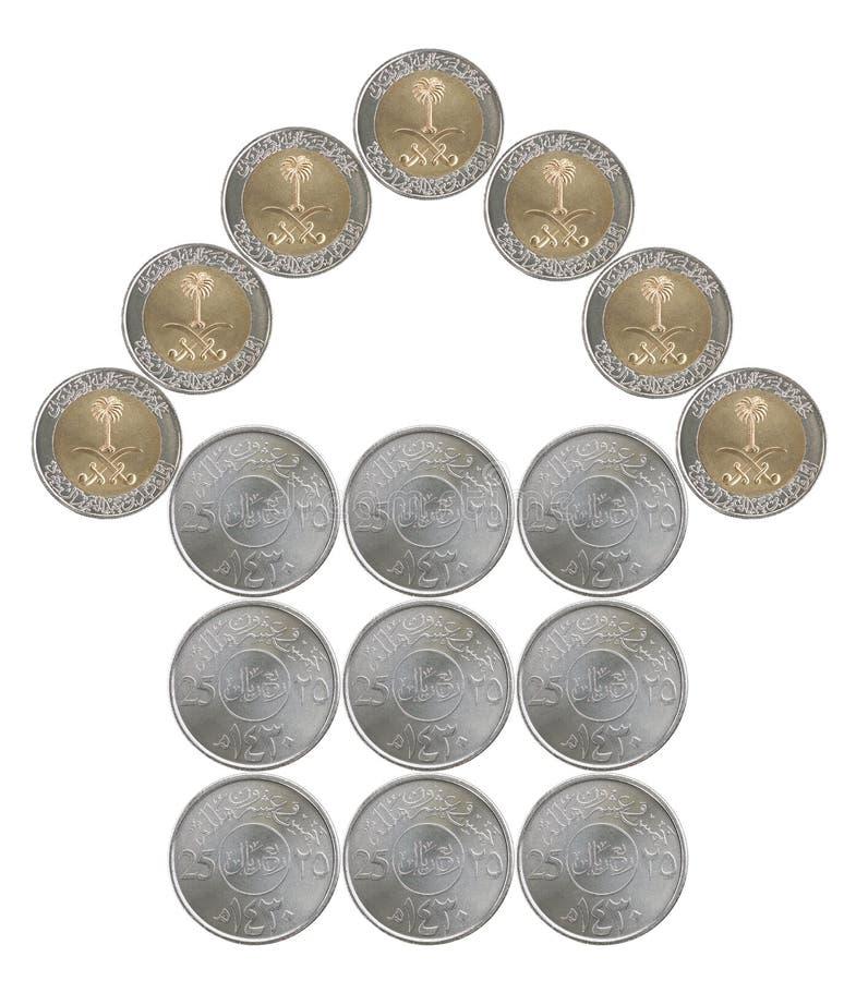 由沙特阿拉伯硬币做的家 免版税图库摄影