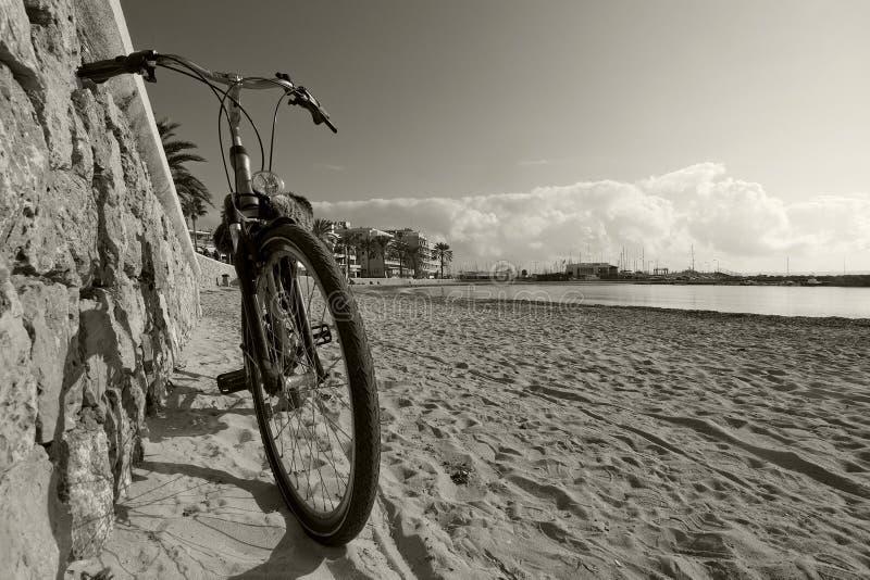 由沙滩的自行车 免版税库存图片