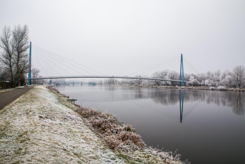 由河易北河Celakovice,捷克Rep的冻结的自然 库存照片