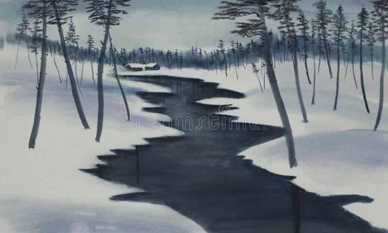 由河的两个房子在冬天森林里 皇族释放例证