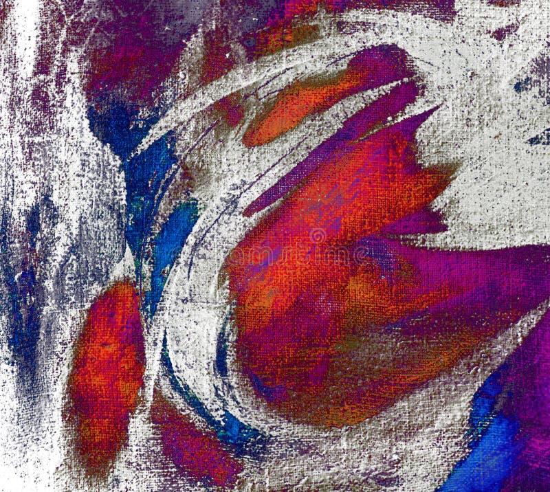 由油的抽象混乱绘画在帆布,例证, backg 免版税库存照片