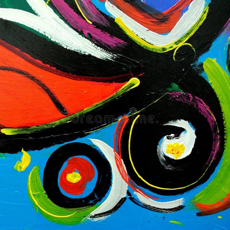 由油的抽象现代绘画在内部的, illust帆布 库存例证